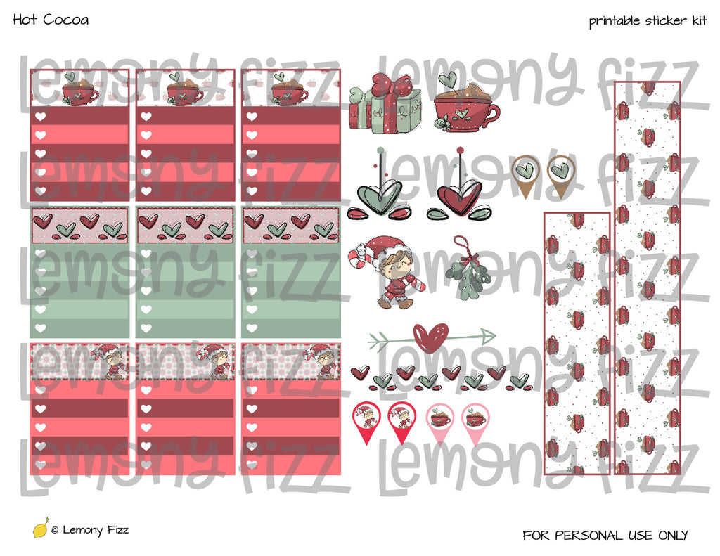 Elf Christmas Kawaii Stickers Printable for Planners and Journaling