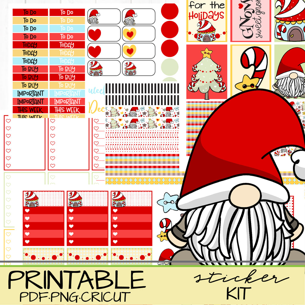 Gnome Holiday Christmas Stickers Printable for Planners and Journaling
