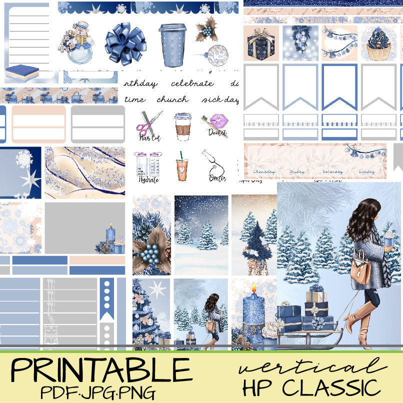 A Blue Christmas Hygge Stickers Printable Vertical Happy Planner or Journaling
