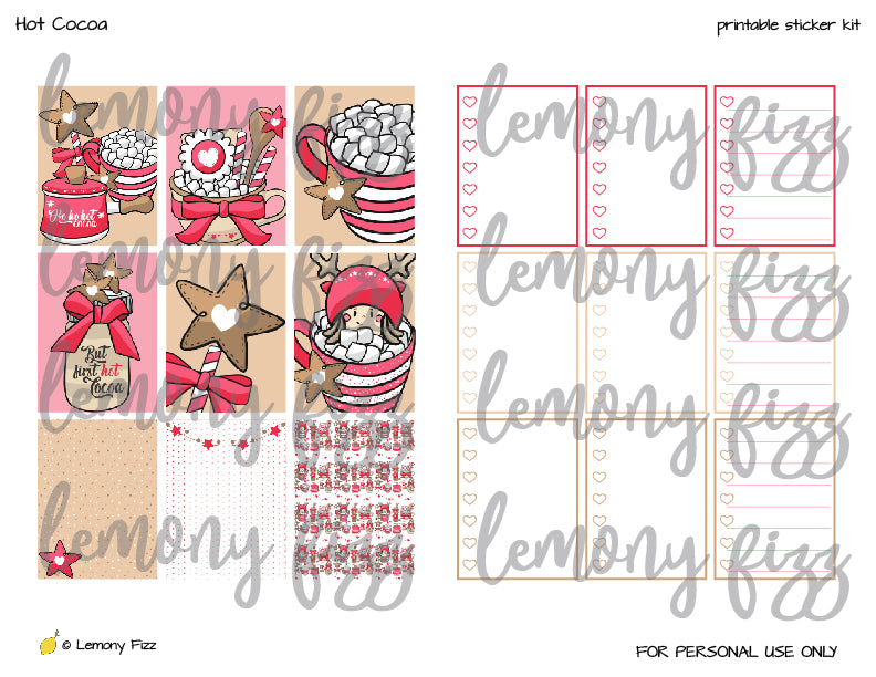 Hot Cocoa Kawaii Stickers Printable for Planners and Journaling