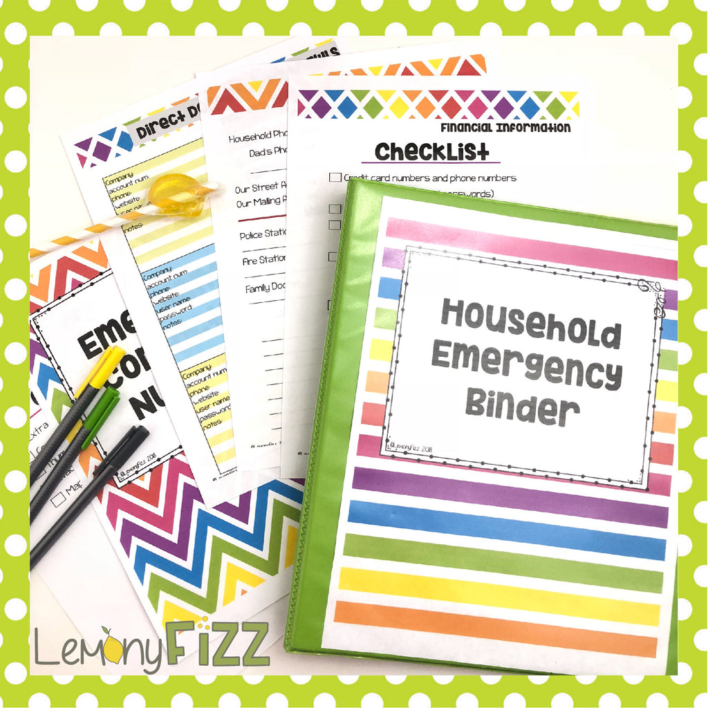 Emergency Household Binder Important Documents and Information Printable