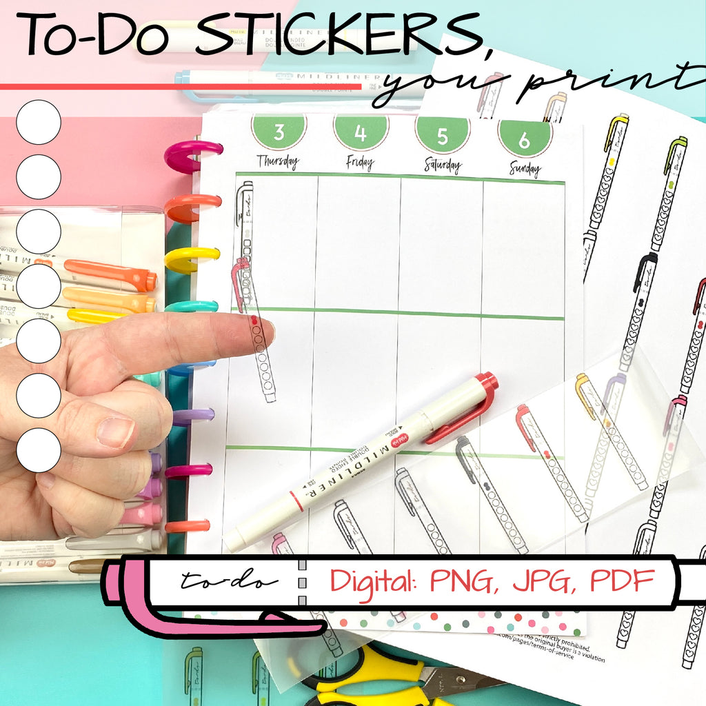Printable Circle To Do Checklist Happy Planner or Bullet Journal Stickers