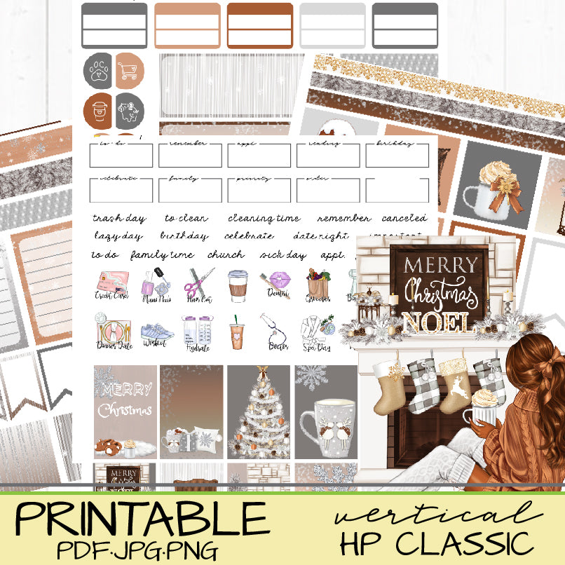 Natural Hygge Christmas Planner Stickers for Happy Planners and Bujo