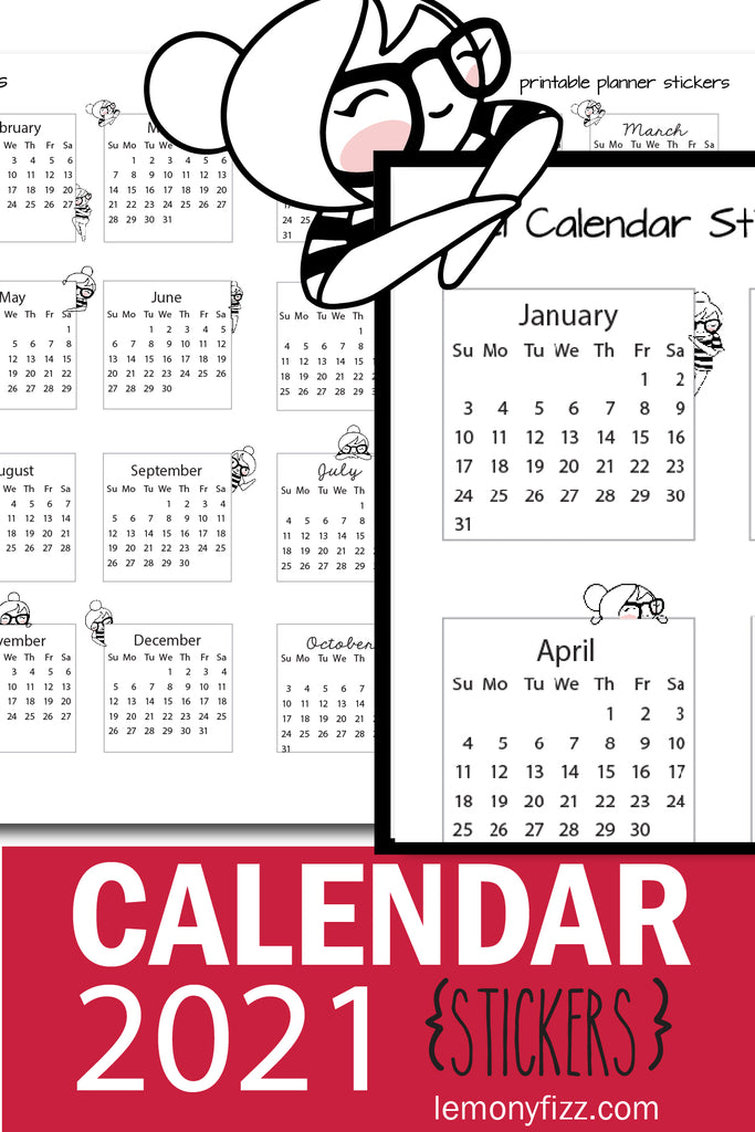 Planner Girl 2021 Mini Calendar Stickers Printable Happy Planner or Journaling
