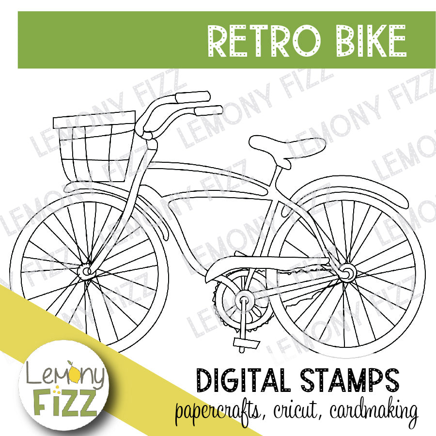 Bike with Basket Digital Stamp