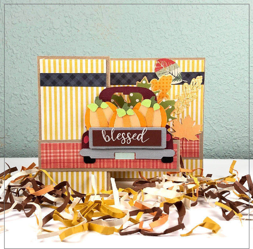 Fall Harvest Thankful Truck Pop Up Card SVG