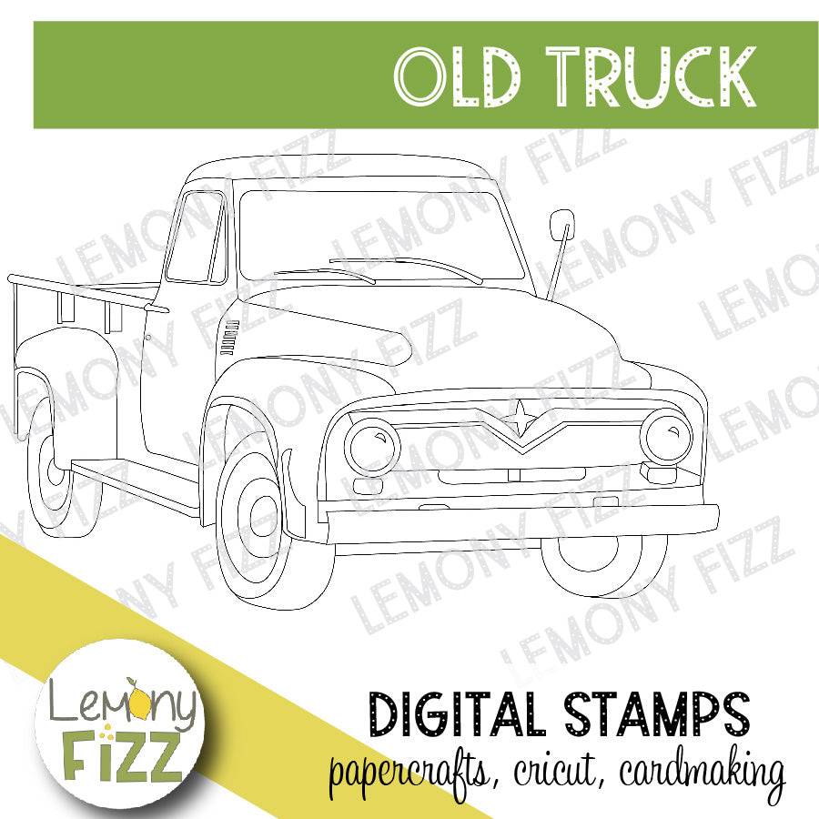 Old Truck Digital Stamp