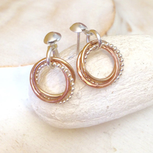 Tricolor Entwined Circle Earrings Three Rings Earrings 30th Birthday gift, Anniversary Gift - made to order