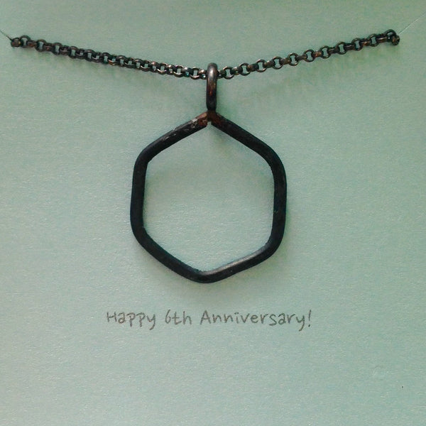"1"" Iron Hexagon Necklace 6th Anniversary Gift for Him Unisex Geometric Shape Necklace Hand Forged & Hammered Iron Jewelry - made to order"