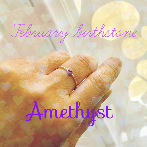 Amethyst Ring Birthstone Ring Gold-Filled Dainty Amethyst Ring Stacking Ring Pinky Ring Push Present - made to order in your finger size