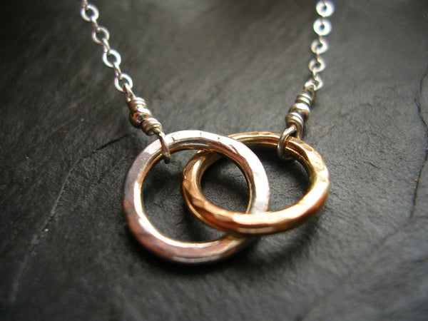 Tiny Two Linked Circle Necklace Gold & Silver Linked Together Two Toned Infinity Necklace - made to order