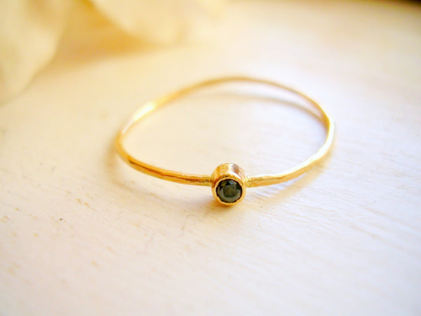 10th Anniversary Gift Black Diamond Solitaire Ring Promise Ring Pinky Ring Stacking Ring 14K Yellow Gold - made to order in your finger size