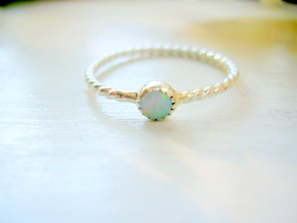 Sterling Silver Opal Ring, October Birthstone Ring, Dainty Stacking Ring, Pinky Ring - made to order in your finger size