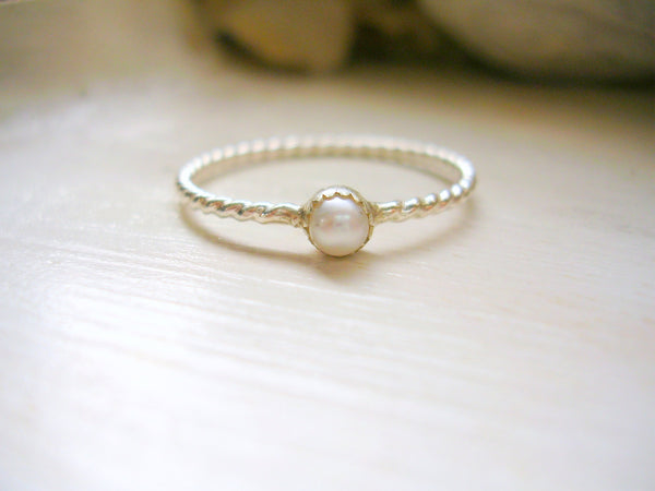Sterling Silver Pearl Ring, June Birthstone Ring, Dainty Stacking Ring, Pinky Ring June Bride ring - made to order in your finger size