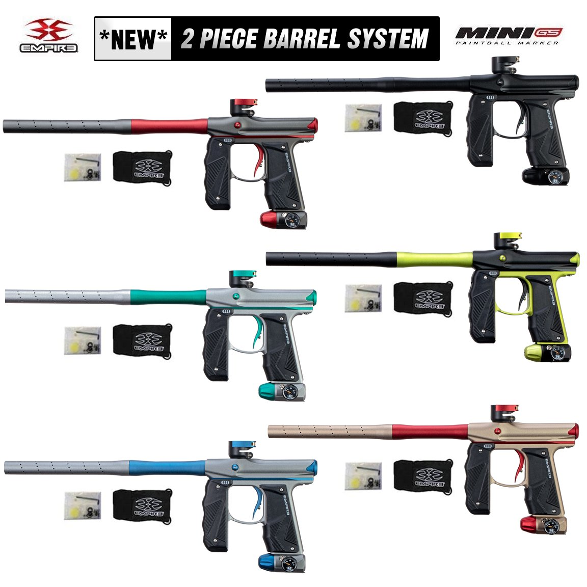 NEW Empire MINI GS 2-Piece Barrel System + 6 NEW COLORS! - PaintballDeals.com