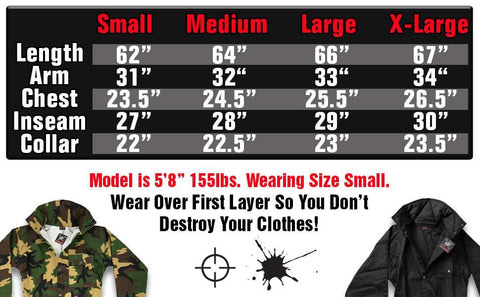 Coverall Jumpsuit Size Chart