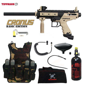 Tippmann Cronus Tactical Maddog Lieutenant HPA Tactical Camo Vest Paintball Gun Package