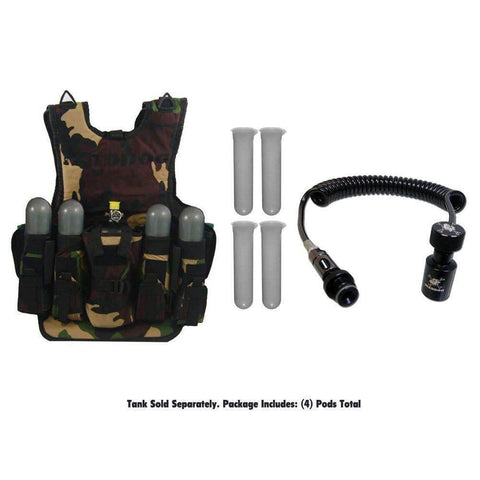 Maddog Tactical Camo Vest with Pods & Standard Remote Coil Paintball Package