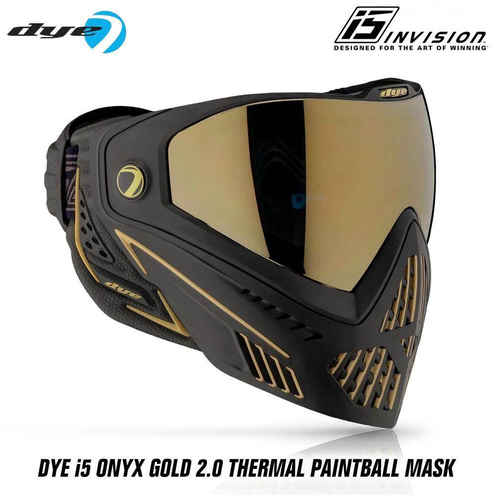 Dye I5 Thermal Paintball Mask Goggles with GSR Pro Strap - Onyx Gold 2.0 Black / Gold