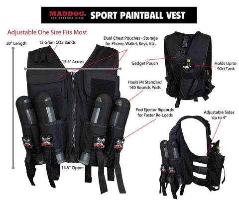 Maddog Tactical Sport Vest with Pods & Remote Coil Paintball Package