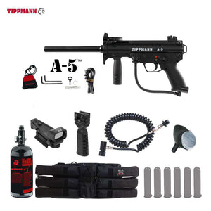 Tippmann A-5 Tactical HPA Red Dot Paintball Gun Package