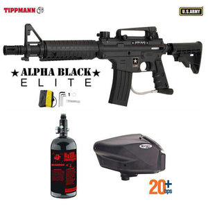 Tippmann U.S. Army Alpha Black Elite Tactical HPA Paintball Gun Package