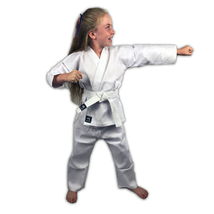 CLEARANCE - Zephyr Martial Arts Karate Gi Student Uniform with Belt - White - 4 - OPEN BOX