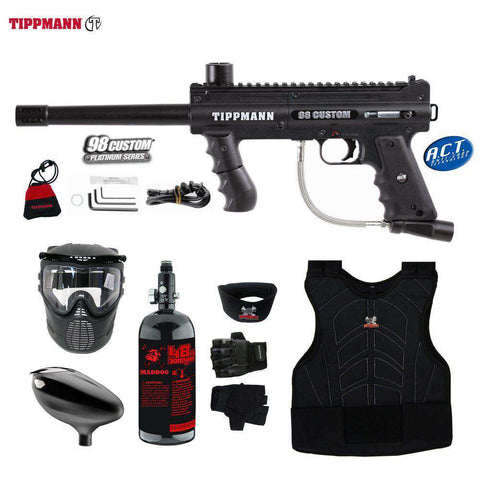 Tippmann 98 Custom Platinum Series Beginner Protective HPA Paintball Gun Package