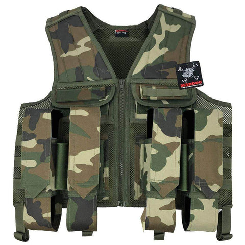 Maddog Tactical Paintball Battle Vest | Holds 6 Pods & Tank Up to 90ci