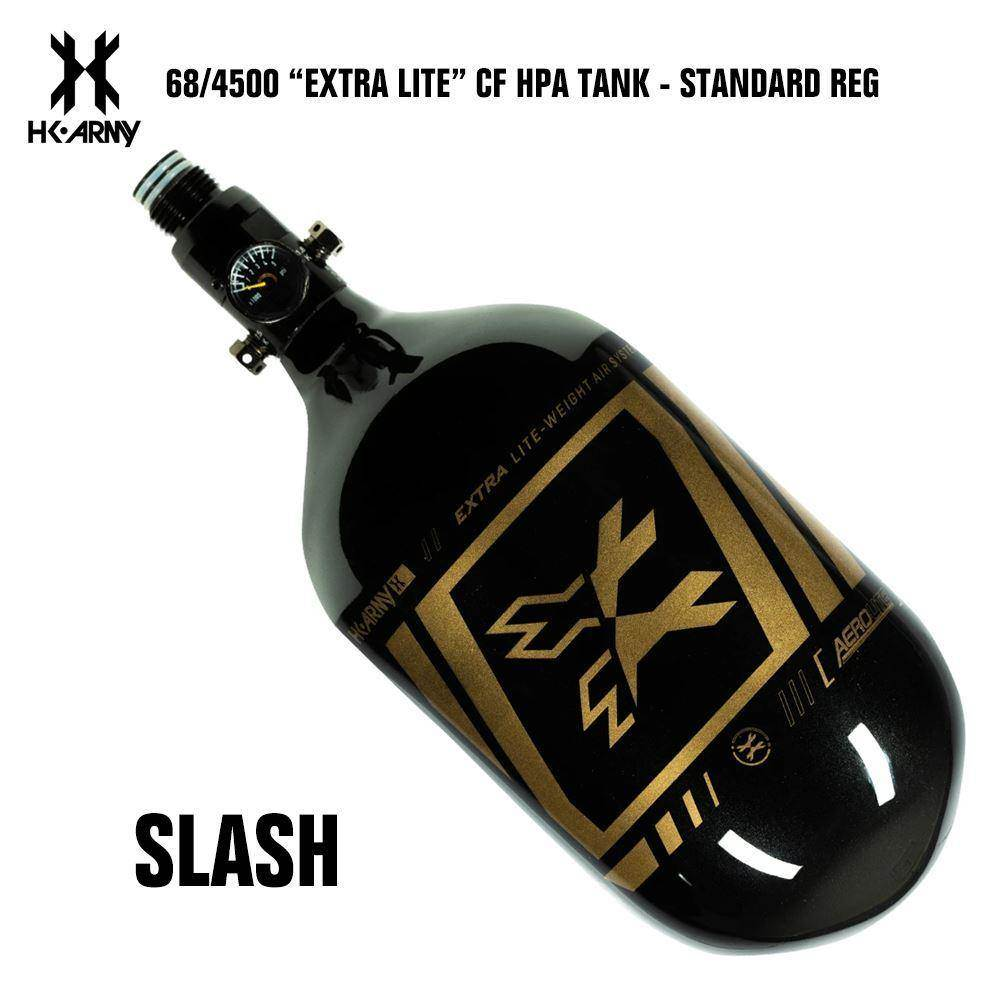 HK Army Slash 68/4500 Extra Lite Carbon Fiber Compressed Air HPA Paintball Tank - Standard Regulator - PaintballDeals.com