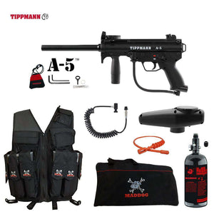 Tippmann A-5 Maddog Lieutenant HPA Attack Vest Paintball Gun Package