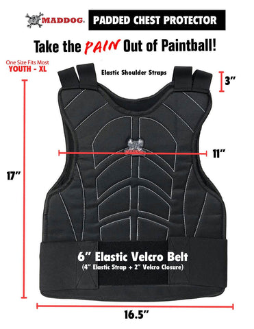 Maddog Padded Airsoft Paintball Chest Protector, Tactical Half Finger Glove, & Neck Protector Combo Package - PaintballDeals.com