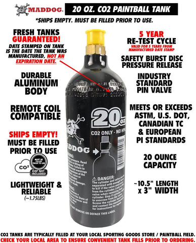 Maddog 20 Oz Aluminum Paintball Tank Co2 Bottle
