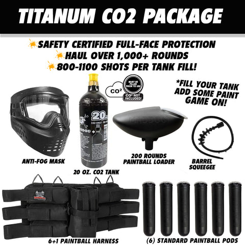 Tippmann Cronus Tactical Titanium CO2 Paintball Gun Co2 Package