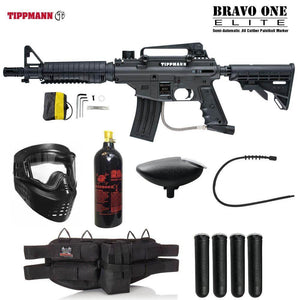 Maddog Tippmann Bravo One Elite Tactical Silver Paintball Gun Package