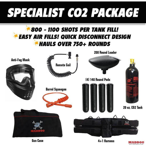 Maddog Tippmann Bravo One Elite Tactical Specialist Paintball Gun Package