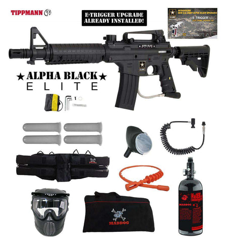 Tippmann U.S. Army Alpha Black Elite Tactical Specialist HPA Paintball Gun Package