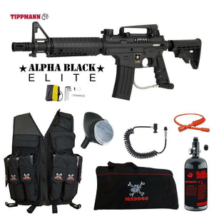 Tippmann U.S. Army Alpha Black Elite Tactical Maddog Lieutenant HPA Attack Vest Paintball Gun Package