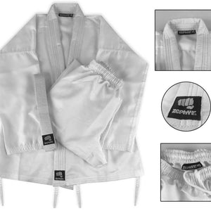 CLEARANCE - Zephyr Martial Arts Performance Karate Gi Student Uniform with Belt - White - 00 - OPEN BOX