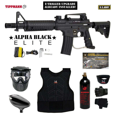 Tippmann U.S. Army Alpha Black Elite Tactical Beginner Protective CO2 Paintball Gun Package