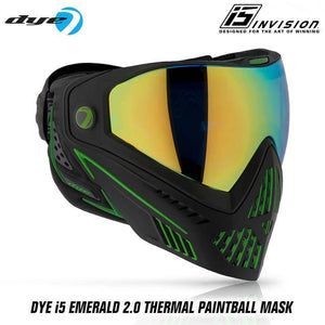 Dye I5 Thermal Paintball Mask Goggles with GSR Pro Strap - Emerald 2.0 Black / Lime - PaintballDeals.com