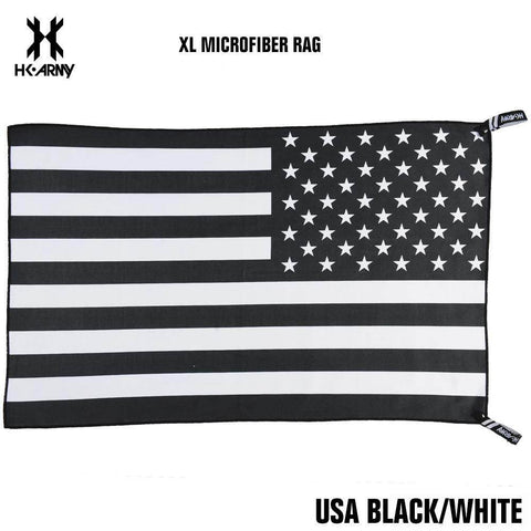 HK Army XL Microfiber Paintball Goggle Rag - USA Black/White - PaintballDeals.com