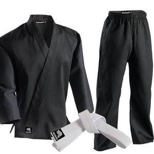 CLEARANCE - Zephyr Martial Arts Karate Gi Student Uniform with Belt - Black - 00 - OPEN BOX