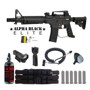 Tippmann US Army Alpha Black Elite Tactical HPA Red Dot Paintball Gun Package