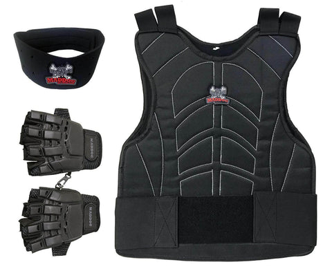 Maddog Padded Airsoft Paintball Chest Protector, Tactical Half Finger Glove, & Neck Protector Combo Package