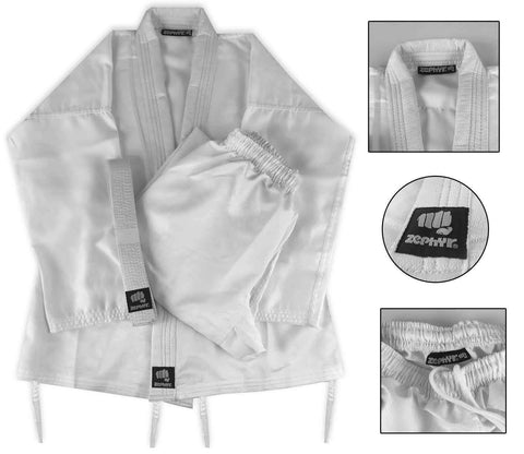Zephyr Martial Arts Performance Karate Gi Student Uniform with Belt - White