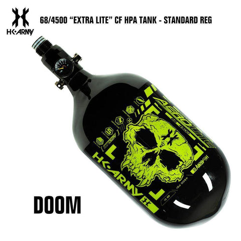 HK Army Doom 68/4500 Extra Lite Carbon Fiber Compressed Air HPA Paintball Tank - Standard Regulator - PaintballDeals.com
