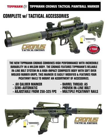 Tippmann Cronus Tactical Beginner Protective CO2 Paintball Gun Package