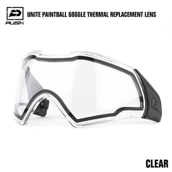 Push Unite Paintball Goggle Mask Thermal Lens w/ Protective Case - Clear - PaintballDeals.com