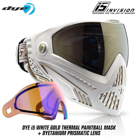 Dye I5 Thermal Paintball Mask Goggles with GSR Pro Strap - White / Gold - PaintballDeals.com